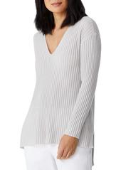 Eileen Fisher Rib V-Neck Cashmere Tunic (Petite)