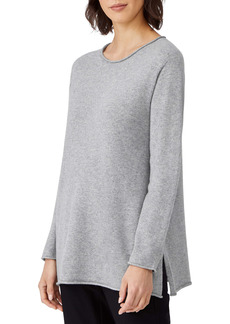 Eileen Fisher Roll Neck Cashmere Tunic Sweater