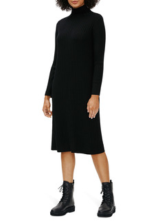 Eileen Fisher Scrunch Neck Ribbed Wool Sweater Dress