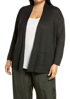 Eileen Fisher Shawl Collar Organic Linen Cardigan (Plus Size)