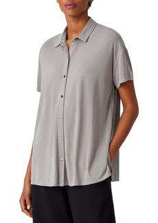 Eileen Fisher Short Sleeve Jersey Button-Up Top