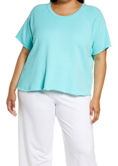 Eileen Fisher Short Sleeve Organic Cotton Sweatshirt (Plus Size)