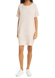 Eileen Fisher Short Sleeve Organic Linen Dress (Regular & Petite)