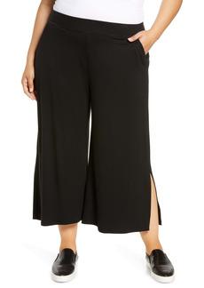 Eileen Fisher Side Slit Jersey Crop Pants (Plus Size)