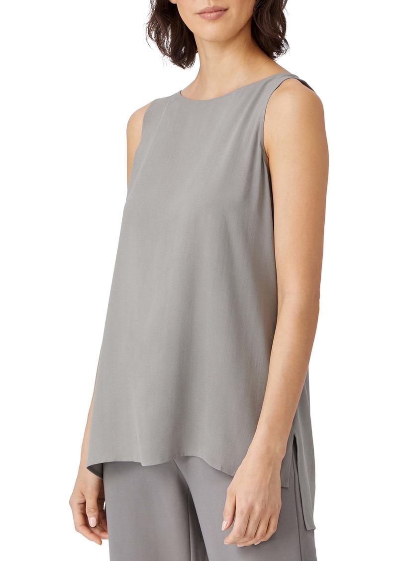 Eileen Fisher Silk Crepe Bateau Neck Shell (Regular & Petite)