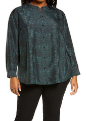 Eileen Fisher Silk Mandarin Collar Shirt (Plus Size)