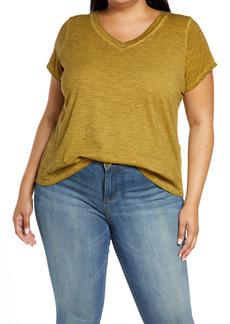 Eileen Fisher Slub Knit V-Neck T-Shirt (Plus Size)