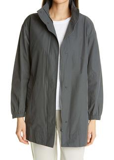 Eileen Fisher Stand Collar Hidden Hood Organic Cotton Blend Coat