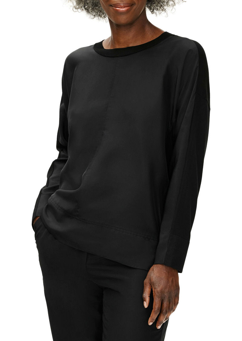 Eileen Fisher Stretch Crepe & Silk Long Sleeve Top (Regular & Petite)