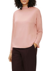 Eileen Fisher Stretch Terry Funnel Neck Box Top
