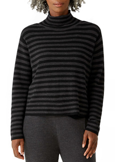 Eileen Fisher Stripe Wool Turtleneck Sweater (Petite)