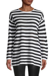 Eileen Fisher Striped Organic Linen & Cotton Tunic