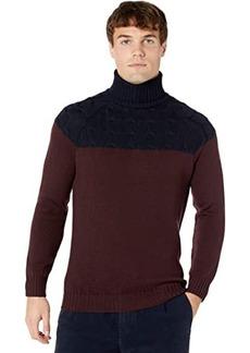 Eleventy Cable Color-Block Turtleneck Sweater