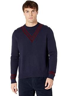 Eleventy Crew Neck Sweater w/ V Stripe Detail