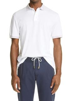Eleventy Contrast Stripe Short Sleeve Polo