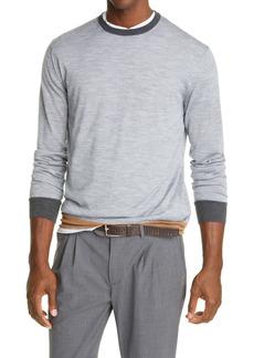 Eleventy Contrast Trim Fine Gauge Merino Wool & Silk Sweater