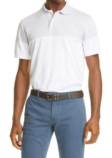 Eleventy Heathered Yoke Short Sleeve Polo