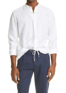 Eleventy Men's Band Collar Linen Button-Up Shirt