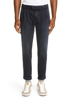 Eleventy Pleated Cotton Blend Jeans