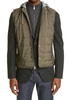 Eleventy Quilted Vest with Removable Jersey Hood
