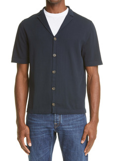 Eleventy Short Sleeve Button-Up Bowling Shirt