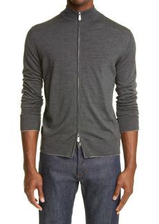 Eleventy Zip Front Merino Wool & Silk Sweater