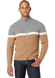 Eleventy Full Zip Color-Block Mock Neck Sweater