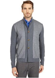 Eleventy Three-Button Mix Media Sweater Jacket