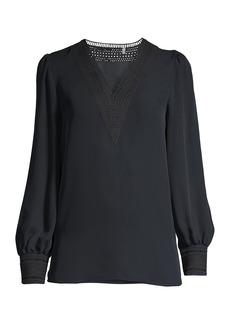 Elie Tahari Aura Lace Eyelet Silk Puff-Sleeve Shirt