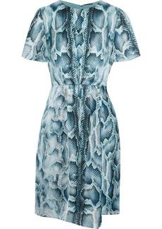 Elie Tahari Woman Dia Gathered Snake-print Silk-satin Mini Dress Turquoise