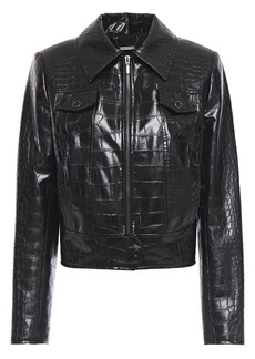 Elie Tahari Woman Jagger Faux Croc-effect Leather Jacket Black
