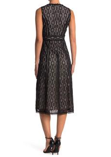 Elie Tahari Pax V-Neck Lace Midi Dress