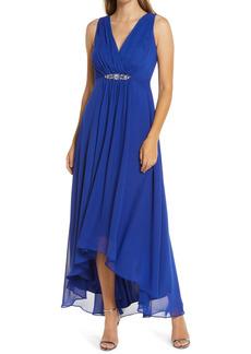 Eliza J Embellished High/Low Chiffon Dress (Regular & Petite)