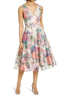 Eliza J Floral Embroidered Fit & Flare Dress