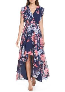 Eliza J Floral High/Low Faux Wrap Chiffon Dress (Regular & Petite)