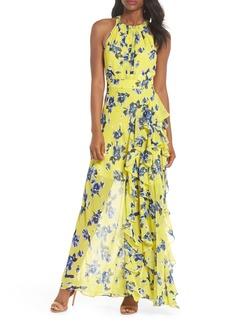 Eliza J Halter Ruffle Maxi Dress (Regular & Petite)