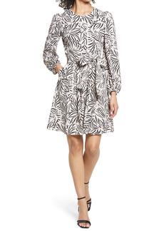 Eliza J Leaf Print Pebble Crepe Long Sleeve Fit & Flare Dress