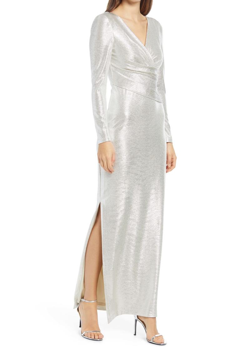 Eliza J Metallic Long Sleeve Faux Wrap Gown