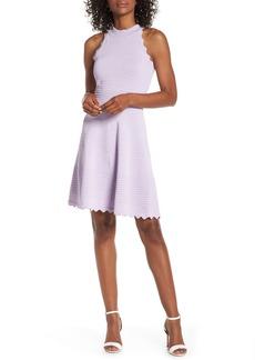 Eliza J Scalloped Fit & Flare Sweater Dress