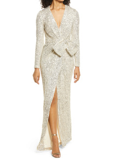 Eliza J Sequin Wrap Front Long Sleeve Gown