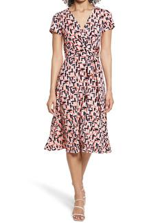 Eliza J Surplice Print Jersey Faux Wrap Dress