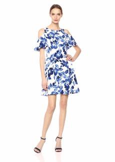 Eliza J Women's Floral Cold Shoulder Fit and Flare Dress