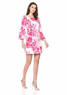 Eliza J Women's Patterned Bell Sleeve Shift Dress