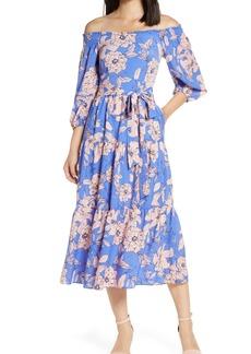 Women's Eliza J Floral Off The Shoulder Midi Dress