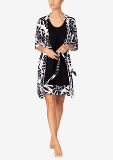 Ellen Tracy Great Chemise and Wrap Set in Tropical Leaf Print