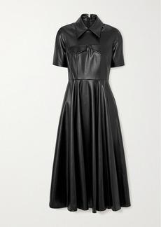 Emilia Wickstead Alice Faux Leather Midi Shirt Dress