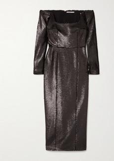 Emilia Wickstead Birch Off-the-shoulder Sequined Crepe Midi Dress
