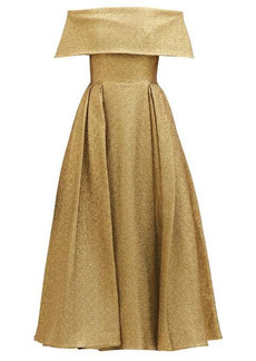 Emilia Wickstead Glowie off-the-shoulder lamé dress