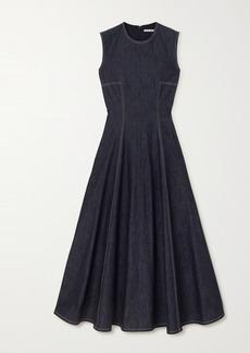 Emilia Wickstead Mara Pleated Denim Midi Dress