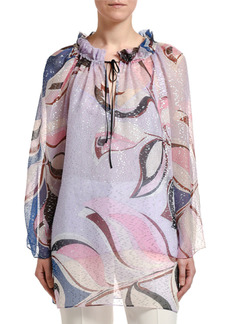 Emilio Pucci Silk Long-Sleeve Drawstring Tie-Neck Tunic